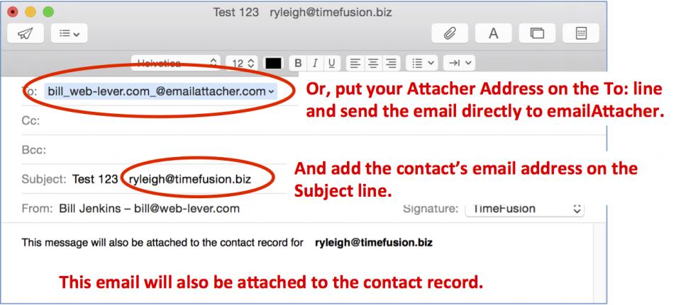Attacher Address on To line
